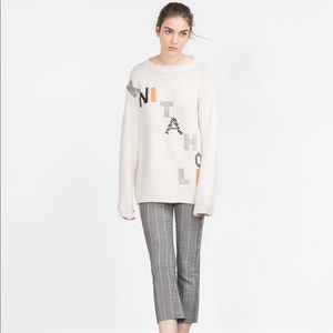 Zara Knitaholic Spellout Chunky Chenille Sweater